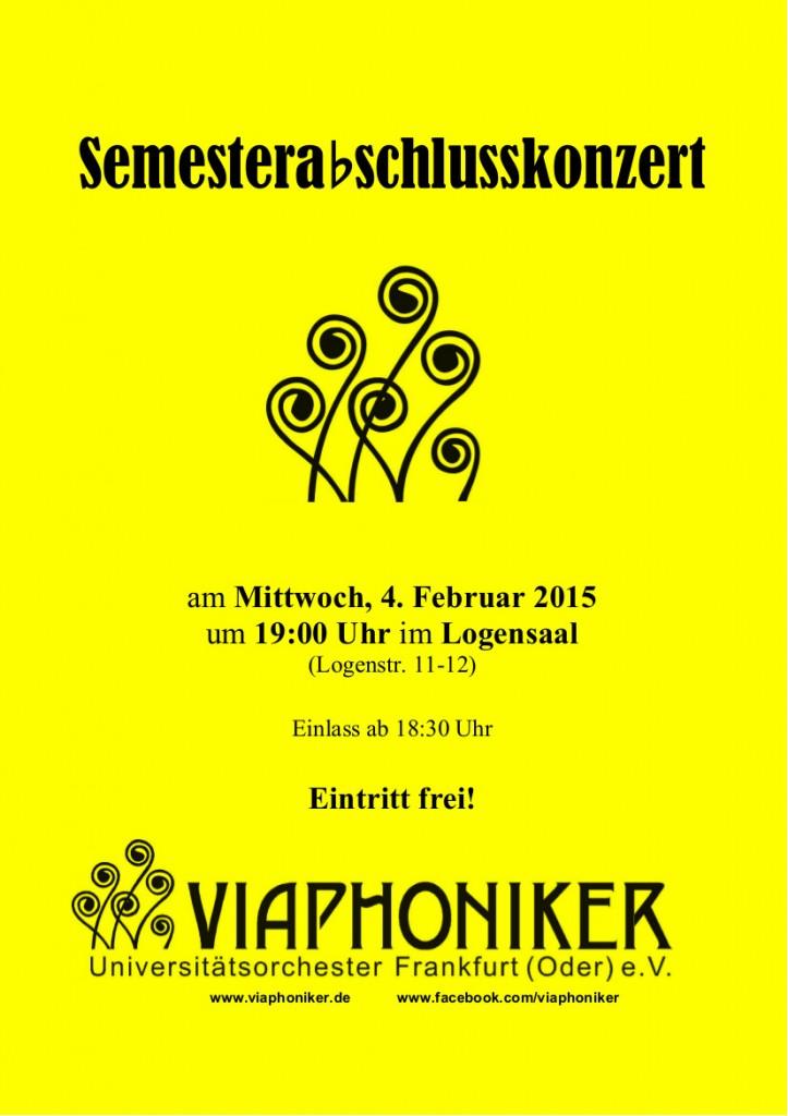 Semesterabschlusskonzert Plakat schwarz auf gelb